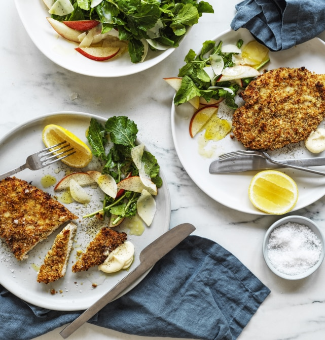 Chicken Schnitzel with Rocket Salad